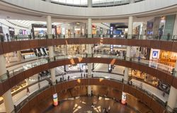 Interior of Dubai Mall, the biggest mall in the world. United Arab Emirates. DUBAI, UAE - SEPTEMBER 24 2018: interior of Dubai Mall, the biggest mall in the stock photography