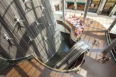 Interior of Dubai Mall, the biggest mall in the world. United Arab Emirates. DUBAI, UAE - SEPTEMBER 24 2018: interior of Dubai Mall, the biggest mall in the stock images