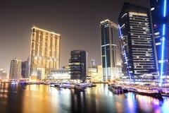 The night illumination of Dubai Marina Stock Photos