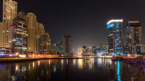 DUBAI, UAE: Skyscrapers of Dubai Marina on September 29, 2014 Royalty Free Stock Photos