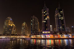DUBAI, UAE: Skyscrapers of Dubai Marina on September 29, 2014 Royalty Free Stock Photography