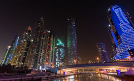 DUBAI, UAE: Skyscrapers of Dubai Marina on September 29, 2014 Royalty Free Stock Photos