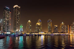DUBAI, UAE: Skyscrapers of Dubai Marina on September 29, 2014 Stock Photos