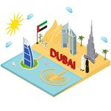 Dubai UAE Travel and Tourism Concept 3d Isometric View. Vector. Dubai UAE Travel and Tourism Concept 3d Isometric View Include of Skyscraper Building, Tower Royalty Free Stock Photography