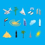Dubai UAE Travel and Tourism Icons 3d Isometric View. Vector. Dubai UAE Travel and Tourism Icons on a Blue 3d Isometric View Include of Skyscraper Building Stock Photography
