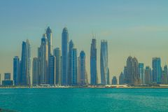 Dubai, UAE, Urban view,  sea. 2015. Dubai, UAE, Urban view and  sea. 2015 Travel photo. Urban photo. Skylines and city space Royalty Free Stock Photos
