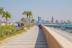 Dubai, UAE, Urban view,  sea. 2015. Dubai, UAE, Urban view and  sea. 2015 Travel photo. Urban photo. Skylines and city space Stock Images