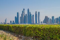 Dubai, UAE, Urban view,  sea. 2015. Dubai, UAE, Urban view and  sea. 2015 Travel photo. Urban photo. Skylines and city space Stock Photography