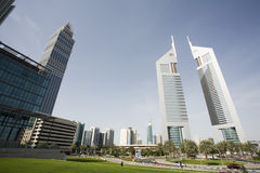 Dubai UAE view of Emirates Towers on Sheikh Zayed Road Stock Photos