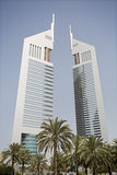 Dubai UAE View of Emirates Towers on Sheikh Zayed Road in Dubai Royalty Free Stock Photos
