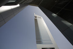 Dubai UAE View of Emirates Towers on Sheikh Zayed Road in Dubai Stock Photography