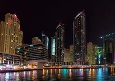 DUBAI, UAE: Wolkenkratzer von Dubai-Jachthafen am 29. September 2014 Lizenzfreie Stockfotos