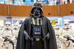 Dubai, United Arab Emirates - August, 2019: Stormtroopers and Sith Lord Darth Vader from Star Wars movies in Dubai mall, Burj