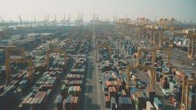 DUBAI, UNITED ARAB EMIRATES - DECEMBER 29, 2019. Aerial dolly zoom shot of big Jebel Ali container port
