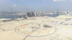 DUBAI, UNITED ARAB EMIRATES - DECEMBER 30, 2019. Aerial view of foundations for the Dubai Creek Tower, the tallest