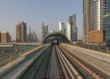 The metro system of Dubai, UAE. Dubai, United Arab Emirates - the Dubai Metro is the fastest way to get from one side to the other of Dubai, and offers the royalty free stock photo