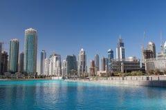 Dancing fountains in Dubai. Stock Photo
