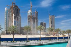Grandiose construction in Dubai, the United Arab Emirates. Dubai,United Arab of  Emirates - February 7, 2012: Grandiose construction in Dubai, the United Arab Stock Photography