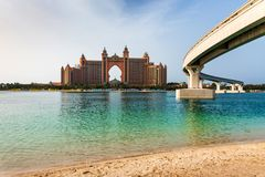 Dubai, United Arab Emirates - January 25, 2019: Atlantis the Palm hotel from The Pointe travel spot at the Palm Jumeirah. Dubai, United Arab Emirates - January royalty free stock images