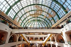 Dubai, United Arab Emirates - June 3, 2018: Interior of the Mall of the Emirates, one of the largest shopping malls in Dubai,. Dubai, United Arab Emirates - June stock photography