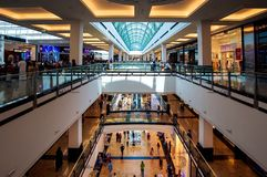 Dubai, United Arab Emirates - June 3, 2018: Interior of the Mall of the Emirates, one of the largest shopping malls in Dubai,. Dubai, United Arab Emirates - June royalty free stock images