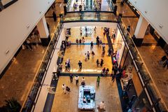 Dubai, United Arab Emirates - June 3, 2018: Interior of the Mall of the Emirates, one of the largest shopping malls in Dubai,. Dubai, United Arab Emirates - June royalty free stock image