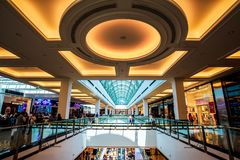 Dubai, United Arab Emirates - June 3, 2018: Interior of the Mall of the Emirates, one of the largest shopping malls in Dubai,. Dubai, United Arab Emirates - June stock photos
