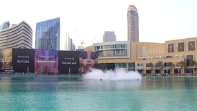 DUBAI, UNITED ARAB EMIRATES - MARCH 31st, 2014: The Dubai Fountain is the world`s tallest performing fountain in Stock Images