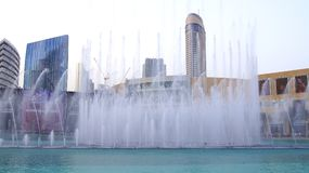 DUBAI, UNITED ARAB EMIRATES - MARCH 31st, 2014: The Dubai Fountain is the world`s tallest performing fountain in Royalty Free Stock Photo