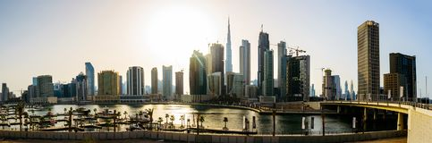 Dubai, United Arab Emirates - May 18, 2018: Panoramic view of downtown Dubai cityscape and the Dubai creek Royalty Free Stock Photos
