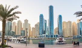 DUBAI, UNITED ARAB EMIRATES - NOVEMBER 4, 2017: Dubai marina pan royalty free stock photos