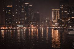 DUBAI, UNITED ARAB EMIRATES - UAE - 23 APRIL 2016: Skyscrapers of Dubai Marina at night. stock images