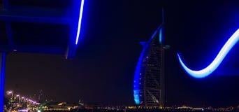 DUBAI, UNITED ARAB EMIRATES, UAE - JANUARY 19, 2018. Dubai. Burj Al Arab at the night, Luxury 7 Stars Hotel Beautiful Building. stock images