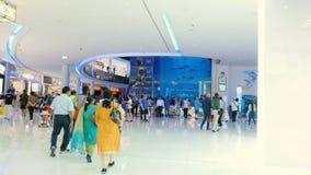 DUBAI, UNITED ARAB EMIRATES, UAE - NOVEMBER 20, 2017: Aquarium in Dubai Mall - world`s largest shopping mall. People. Enjoying the beautiful view stock footage