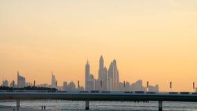 DUBAI, UNITED ARAB EMIRATES, UAE - NOVEMBER 20, 2017: Hotel Jumeirah Al Naseem near with Burj al Arab. at sunset, in the. Distance you can see skyscrapers stock video