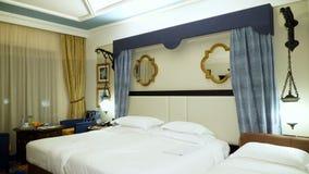 Dubai, United Arab Emirates, Uae - November 20, 2017: Hotel Jumeirah Al Qasr Madinat, Deluxe Bedroom, beautiful hotel. Dubai, United Arab Emirates, Uae stock footage