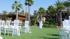 DUBAI, UNITED ARAB EMIRATES, UAE - NOVEMBER 20, 2017: Hotel Jumeirah Al Qasr Madinat , near Burj al Arab. wedding decor. Preparation for the ceremony on the stock video