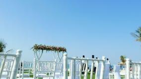Dubai, United Arab Emirates, Uae - November 20, 2017: Hotel Jumeirah Al Qasr Madinat , near Burj al Arab. wedding decor. Preparation for wedding ceremony on stock video