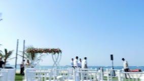 DUBAI, UNITED ARAB EMIRATES, UAE - NOVEMBER 20, 2017: Hotel Jumeirah Al Qasr Madinat , near Burj al Arab. wedding decor. Preparation for wedding ceremony on stock footage