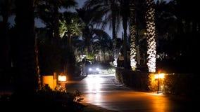 DUBAI, UNITED ARAB EMIRATES, UAE - NOVEMBER 20, 2017: Hotel Jumeirah Al Qasr Madinat, at night, by light of lanterns. And headlights of passing taxi-bugs stock video footage