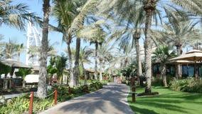 Dubai, United Arab Emirates, Uae - November 20, 2017: Hotel Jumeirah Al Qasr Madinat , walk along the beach zone. Throught the teritity of the hotel stock footage