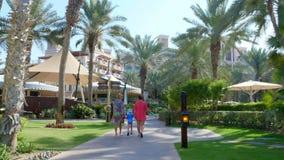 Dubai, United Arab Emirates, Uae - November 20, 2017: Hotel Jumeirah Al Qasr Madinat , walk along the beach zone. Throught the territory of the hotel stock video footage