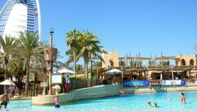 DUBAI, UNITED ARAB EMIRATES, UAE - NOVEMBER 20, 2017: Hotel JUMEIRAH BEACH HOTEL near Burj al Arab. water park Wild Wadi. On the territory of the hotel complex stock video