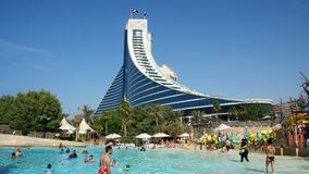 DUBAI, UNITED ARAB EMIRATES, UAE - NOVEMBER 20, 2017: Hotel JUMEIRAH BEACH HOTEL near Burj al Arab. water park Wild Wadi. On the territory of the hotel complex stock video footage
