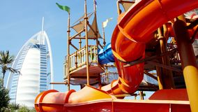 Dubai, United Arab Emirates, Uae - November 20, 2017: Hotel Jumeirah Beach Hotel Near Burj Al Arab. Water Park Wild Wadi. On the territory of the hotel complex stock footage