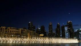 DUBAI, UNITED ARAB EMIRATES, UAE - NOVEMBER 20, 2017: Night Dancing fountains, beautiful streams of water, light and stock video