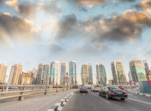 Dubai, United Arab Emirates. Wonderful city skyline on a beautif. Ul day Stock Image