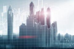 Dubai Universal finance abstract background Economic Trading growth graph chart on futuristic city. Double exposure. Universal finance abstract background vector illustration