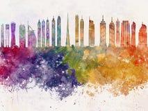Dubai V2 skyline in watercolor background. Dubai V2 skyline artistic abstract in watercolor background Stock Images
