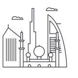 Dubai vector line icon, sign, illustration on background, editable strokes stock illustration
